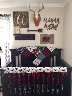 2 Day Ship Boy Crib Bedding Buck Deer Black Arrows Lodge Red Black Buffalo Check Aztec and Black Woodland Nursery Set Baby Boy Crib Bedding, Baby Boy Cribs, Baby Boy Rooms, Baby Boy Nurseries, Rustic Baby Nurseries, Baby Boy Nursery Themes, Quilt Baby, Baby Boys, Baby Girl Camo