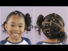 Easy Elastic Hairstyle With Braids Little Girls Natural Hairstyles, Toddler Braided Hairstyles, Kids Curly Hairstyles, Baby Girl Hairstyles, Simply Hairstyles, Cute Simple Hairstyles, Pretty Hairstyles, Mixed Hairstyles, Hairstyle For Girls Video