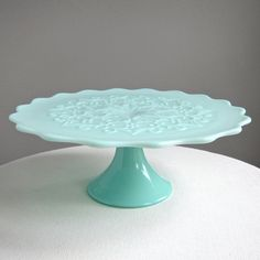 Green Pastel Milk Glass Pedestal Cake Stand -- Spanish Lace by Fenton. $345.00, via Etsy.