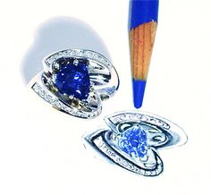Sketch and finished Robert Young Original sapphire ring | RobertYoung.com