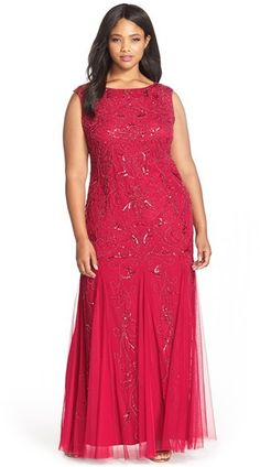Adrianna Papell Beaded Scoop Back Gown (Plus Size) Plus Size Evening Gown, Red Evening Gowns, Red Gowns, Vestidos Plus Size, Plus Size Party Dresses, Looks Plus Size, Curvy Dress, Plus Size Fashion, Ball Gowns