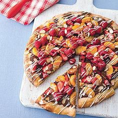 Grilled Dessert Pizza Recipe from MyRecipes.com.  I might make a variation with an apple-cinnamon mixture instead.