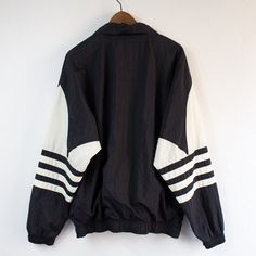Vintage 90's Adidas Black Pullover Windbreaker - Large on Etsy, $30.00