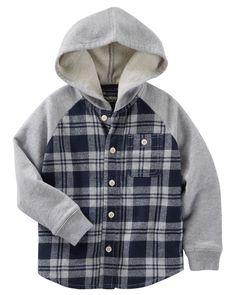 Toddler Boy Flannel & French Terry Hooded Shirt Jacket | OshKosh.com