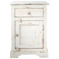 Nachttisch aus Mangoholz mit Schublade, B 42cm, weiß Avignon   Maisons du Monde