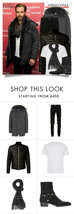 """Chris Pine - sundance film festival"" by tina-abbara ❤ liked on Polyvore featuring Canada Goose, AMIRI, Moncler, Alexander McQueen, Burberry, Yves Saint Laurent, men's fashion and menswear"