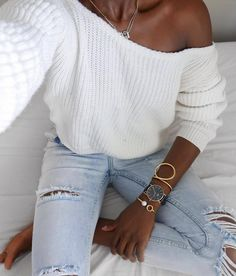 outfit of the day | white one shoulder sweater + rips
