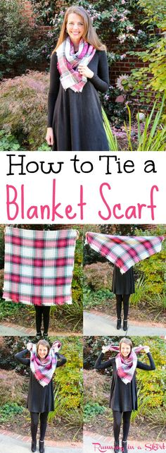 How to tie a blanket scarf tutorial!  Step by step instructions for this simple look.  A great scarf style for cold weather. / Running in a Skirt