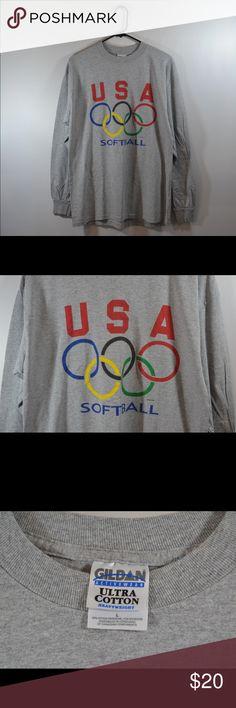 "USA Olympic Softball Long Sleeve T Shirt USA Olympic Softball Long Sleeve T Shirt Grey  Cotton Blend. Measured in inches while laid flat. Chest:20.5"",Length:28"",Sleeve:23"" Gildan Tops Tees - Long Sleeve"