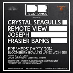 Drr Freshers party at Bloomsbury Lanes, Basement of Travistock Hotel, Bedford Way, London, WC1H 9EU, UK. On Oct 03,2014 to Oct 04,2014 at 8:00pm to 3:00am.  Our eclectic lineup will include performances from eccentric pop artisan, Frasier Banks the mellow musings of the divinely soulful Joseph the artful.  URLs: Facebook: http://atnd.it/16124-1, Tickets: http://atnd.it/16124-2,  Category: Nightlife,  Prices: Student £3, DOOR £5
