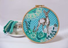 Doe a deer - Embroider your own Wall Art - DIY - contemporary embroidery kit Jenny Blair