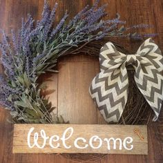 """Lavender 18"""" Grapevine Wreath with Rustic handpainted Pallet Sign and Grey…"""