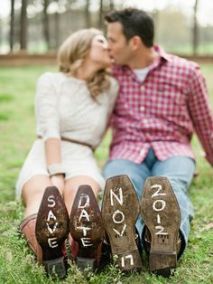 Cute SAVE THE DATE idea. And her outfit is super cute... loving the white lace dress and cowgirl boots combo. Plus he looks super handsome in red plaid! Another beautiful couple in love...