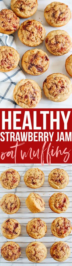 Get back to baking this fall with these healthy and delicious Strawberry Jam Filled Oat Muffins! that are perfect for grabbing on-the-go! @intherawbrand #intheraw #ad