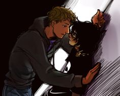 Nico and Jason Nico:Jason stop hacking me Jason:I have no idea what your talking about -acts innocent-