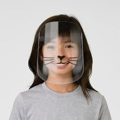 Cute Cat Face Black Nose Whiskers Kids' Face Shield - tap to personalize and get yours #KidsFaceShield  #cute #cat #face #nose #whiskers Cute Cat Face, Cute Notebooks, Cute School Supplies, Clear Face, Plastic Animals, White Ink, Perfect Match, Going Out, Cats