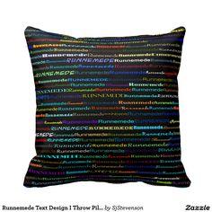 Runnemede Text Design I Throw Pillow