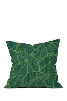 Lime Green Leaves Throw Pillow