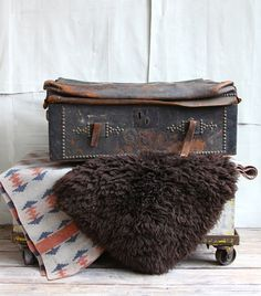 Antique Leather Stagecoach Trunk  Free Shipping by ethanollie, $450.00