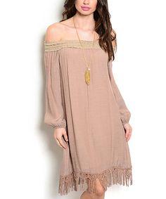 Look what I found on #zulily! Taupe Fringe Off-Shoulder Dress #zulilyfinds