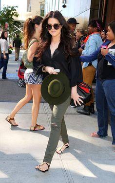 Khloe Kardashian wearing Giuseppe Zanotti buckled sandals.