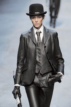 Hermes - Black leather suit