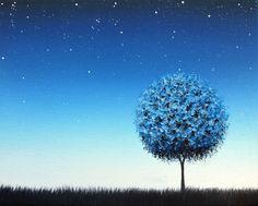 Blue Night Art Print, Starry Night Sky, Blue Tree Art, Giclee Print of Blue Landscape Painting, Twilight Nightscape, Modern Blue Wall Art by BingArt on Etsy