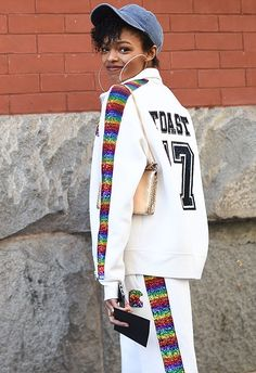 Selah Marley poses at the Marc Jacobs Fall 2017 Show wearing a white tracksuit with rainbow side stripe detail. Asos Fashion, Fashion News, Fashion Beauty, Selah Marley, White Tracksuit, Lauryn Hill, S Models, Marc Jacobs, Daughter