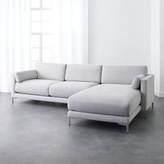 Clean, contemporary lines and elevated detailing set modern sectional sofas from apart from the rest. Design your dream living room by configuring sectionals and chaises into a shape that fits your space. Tufted Sectional Sofa, Modern Sectional, Leather Sectional, Gray Sectional, Couches, Reclining Sectional, Lounge Sofa, Lounge Furniture, Modern Grey Sofa