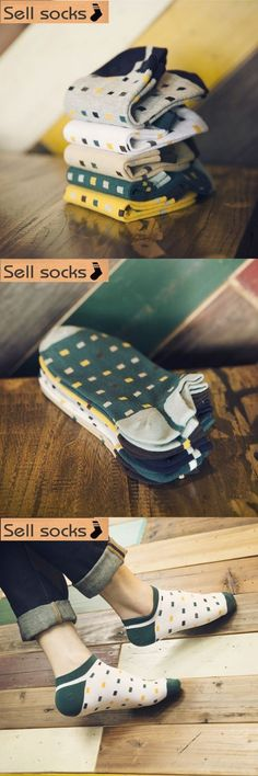 new summer Colorful small grid squares man Casual ankle cotton socks men boat sock slippers harajuku EUR39-44
