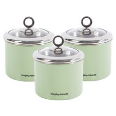 Morphy Richards 3pc Tea/Coffee/Sugar - Small - Sage Green Kitchen Storage Canisters - Accents Range