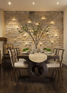 A dining room decor to make your guests feel envy! Grab the best dining room decor ideas to make your dining room design be the best when it comes to modern dining rooms designs. A best of when it comes to interior design ideas. Stone Accent Walls, Accent Wall Colors, Faux Stone Walls, Brick Wallpaper Accent Wall, Wooden Accent Wall, Accent Wall In Kitchen, Stacked Stone Walls, Accent Wall Decor, Wall Accents