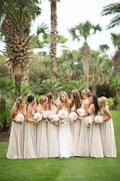 Neutral taupe bridesmaid dresses by Two Birds / @Kristen Weaver / Kristen Weaver Photography