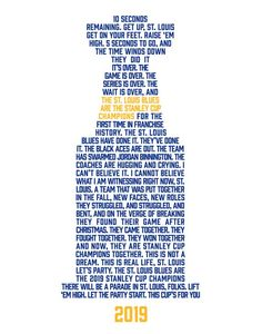 Louis Blues won their first Stanley Cup in franchise history. Relive the final minutes with this commemorative print/poster. Hockey Girls, Hockey Mom, Ice Hockey, Stanley Cup Playoffs, Stanley Cup Champions, Blues Nhl, St Louis Baseball, Nhl Logos, Hockey Season