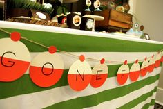Fun banner at a Fishing birthday party! See more party ideas at CatchMyParty.com!