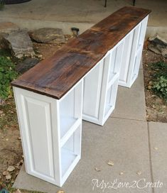Come see how easy it is to make Repurposed Cabinet Doors into a Desk. This is a great way to create a custom piece for your home! #repurposedfurnitureforkitchen