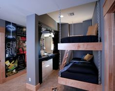 Home Decor Contemporary Kids. Built in beds with chalkboard wall.