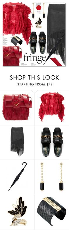 """Shimmy Shimmy: Fringe"" by ilona828 ❤ liked on Polyvore featuring Fendi, writtenafterwards, David Yurman, Lanvin, The Sak, StreetStyle, fringe and polyvoreeditorial"