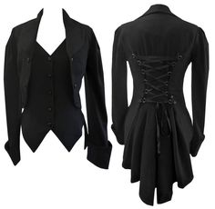 8-30 BLACK VICTORIAN GOTHIC CORSET FISHTAIL MOCK WAISTCOAT BUTLER JACKET COAT in Clothes, Shoes & Accessories, Women's Clothing, Coats & Jackets | eBay Coat Design by Amber Middaugh