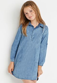 Girls Collared Chambray Shift Dress (Kids) | Forever 21 girls - 2000155548