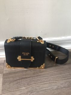 2281534e44 Details about Prada Black Cahier Calf Leather Belt Bag with Chain Shoulder  Strap