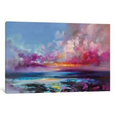 iCanvas Arran Glow by Scott Naismith Canvas Print by Scott Naismith ,canvas art arrives ready to hang, with hanging accessories included and no additional framing required. And expertly stretched around North American Pine wood stretcher bars. Canvas Artwork, Canvas Art Prints, Painting Prints, Canvas Wall Art, Sky Painting, Canvas Board, Canvas Paintings, Arran, New Wall