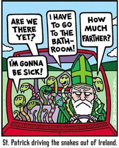 Patrick diving the snakes out of Ireland (irish jokes, catholic) Road Trip Humor, Road Trips, Catsu The Cat, Guter Rat, Catholic Memes, Catholic School, Christian Humor, Christian Cartoons, Christian Faith