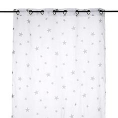 Star Voilage à œillets 140x240cm blanc motifs étoiles grises
