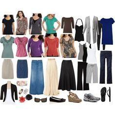 Basic Spring/Summer Travel Wardrobe. This modest dressy/casual collection is built with natural earth tones and a few brights. All optional tops can easily be mixed and matched with all the bottoms to carry you for months. Tank tops can be for working out, sleeping, undershirts, and worn with a shrug for more variety. Shoes are comfortable, neutral, and minimal. The tee shirt dress can be a night gown, swim suit cover, and paired with leggings and ballet flats for easy and comfortable…