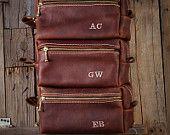 Custom HANDMADE Men's Leather Toiletry Case Dopp Kit Shaving Bag OOAK Present Groomsman Gift Wedding Groom Lifetime Leather Co Christmas