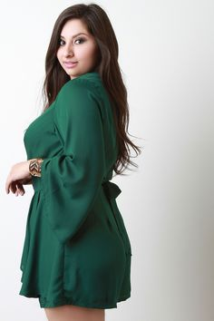 This romper is so cute! Plus Size Wide Sleeves Surplice Ruffled Romper