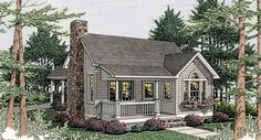 Cottage House Plan with 1 Bedroom and 1.5 Baths - Plan 3522