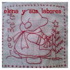 Bloque diciembre, hecho a mano. Redwork realizado por http://elenaysuslabores.blogspot.com.es/