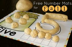 Free fall play dough mats for learning numbers 1-10. Practice number recognition, word recognition, one-to-one correspondence and addition.